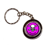 Poison Skull and Crossbones Pink Spinning Circle Keychain