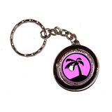 Palm Tree and Moon Pink Spinning Circle Keychain