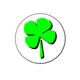 Four Leaf Clover - Irish Lapel Hat Pin Tie Tack Large Round