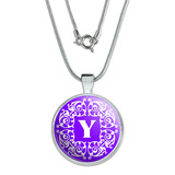 Letter Y Initial Purple and White Scrolls Large Pendant