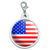 American USA Flag Large Metal ID Pet Dog Tag