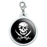 Pirate Skull Crossed Swords Large Metal ID Pet Dog Tag