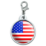American USA Flag - Patriotic Small Metal ID Pet Dog Tag