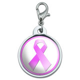 Breast Cancer Pink Ribbon Small Metal ID Pet Dog Tag