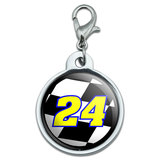 Number 24 Checkered Flag - Racing Small Metal ID Pet Dog Tag