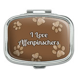 I Love Heart Dogs - Affenpinschers - Rectangle Pill Box