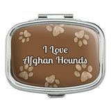 I Love Heart Dogs - Afghan Hounds - Rectangle Pill Box