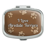 I Love Heart Dogs - Airedale Terriers - Rectangle Pill Box