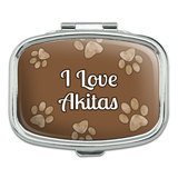 I Love Heart Dogs - Akitas - Rectangle Pill Box
