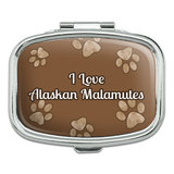 I Love Heart Dogs - Alaskan Malamutes - Rectangle Pill Box