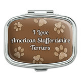 I Love Heart Dogs - American Staffordshire Terriers - Rectangle Pill Box
