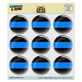 "Thin Blue Line Puffy Bubble Dome Scrapbooking Crafting Stickers - Set of 9 - 1.5"" (38mm) Diameter Each"