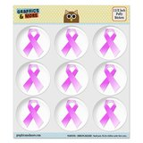 "Breast Cancer Pink Ribbon Puffy Bubble Dome Scrapbooking Crafting Stickers - Set of 9 - 1.5"" (38mm) Diameter Each"