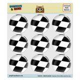 "Checkered Flag Racing Puffy Bubble Dome Scrapbooking Crafting Stickers - Set of 9 - 1.5"" (38mm) Diameter Each"