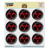 "Biohazard Warning Symbol Zombie Radioactive Puffy Bubble Dome Scrapbooking Crafting Stickers - Set of 9 - 1.5"" (38mm) Diameter Each"