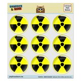 "Radioactive Nuclear Warning Symbol Puffy Bubble Dome Scrapbooking Crafting Stickers - Set of 9 - 1.5"" (38mm) Diameter Each"