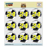 "Number 24 Checkered Flag Racing Puffy Bubble Dome Scrapbooking Crafting Stickers - Set of 9 - 1.5"" (38mm) Diameter Each"