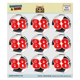 "Number 88 Checkered Flag Racing Puffy Bubble Dome Scrapbooking Crafting Stickers - Set of 9 - 1.5"" (38mm) Diameter Each"