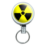 Radioactive Nuclear Warning Symbol Retractable Belt Clip Badge Key Holder
