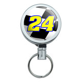 Number 24 Checkered Flag Racing Retractable Belt Clip Badge Key Holder