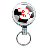 Number 3 Checkered Flag Racing Retractable Belt Clip Badge Key Holder