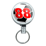 Number 88 Checkered Flag Racing Retractable Belt Clip Badge Key Holder