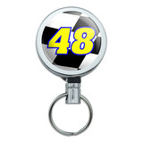 Number 48 Checkered Flag Racing Retractable Belt Clip Badge Key Holder