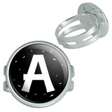 Letter A Initial Black And White Silver Plated Adjustable Novelty Ring