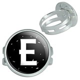 Letter E Initial Black And White Silver Plated Adjustable Novelty Ring