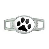 Paw Print - Black on White Oval Slide Shoe Charm