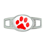 Paw Print - Red on White Oval Slide Shoe Charm