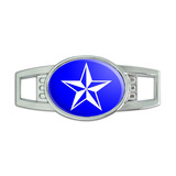 Nautical Star Blue Oval Slide Shoe Charm