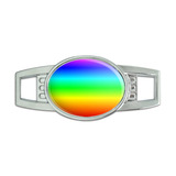 Rainbow Oval Slide Shoe Charm