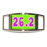 26.2 green pink - marathon running Rectangle Shoe Charm