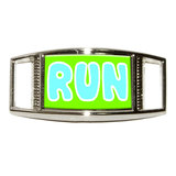 Run Blue Green - Marathon Running Rectangle Shoe Charm