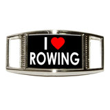I Love Heart Rowing Rectangle Shoe Charm