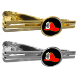 Fire Fighter Helmet - Fire Deparment on Black Round Tie Clip