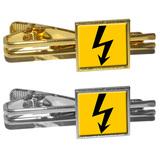 High Voltage Symbol - Black on Yellow Square Tie Clip