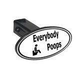 Everybody Poops - Man On Toilet Oval Tow Hitch Cover