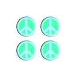 Distressed Peace Sign Symbol Teal - Set of 3D Stickers