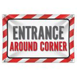 "Entrance Around Corner 33"" (84cm) x 22"" (56cm) Mini Vinyl Flag Banner Wall Sign"