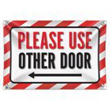 "Please Use Other Door Left Arrow 33"" (84cm) x 22"" (56cm) Mini Vinyl Flag Banner Wall Sign"