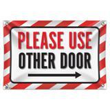 "Please Use Other Door Right Arrow 33"" (84cm) x 22"" (56cm) Mini Vinyl Flag Banner Wall Sign"