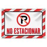 """No Estacionar No Parking Spanish 33"""" (84cm) x 22"""" (56cm) Mini Vinyl Flag Banner Wall Sign"""