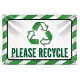 "Please Recycle 33"" (84cm) x 22"" (56cm) Mini Vinyl Flag Banner Wall Sign"