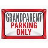 "Grandparent Parking Only 33"" (84cm) x 22"" (56cm) Mini Vinyl Flag Banner Wall Sign"