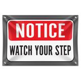 """Notice Watch Your Step 33"""" (84cm) x 22"""" (56cm) Mini Vinyl Flag Banner Wall Sign"""