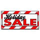 Holiday Sale Candy Cane Stripes - Store Business Sign Banner