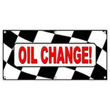 Oil Change Checkered Flag Automotive Car Repair - Business Sign Banner