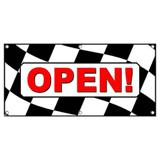Open Checkered Flag - Business Sign Banner
